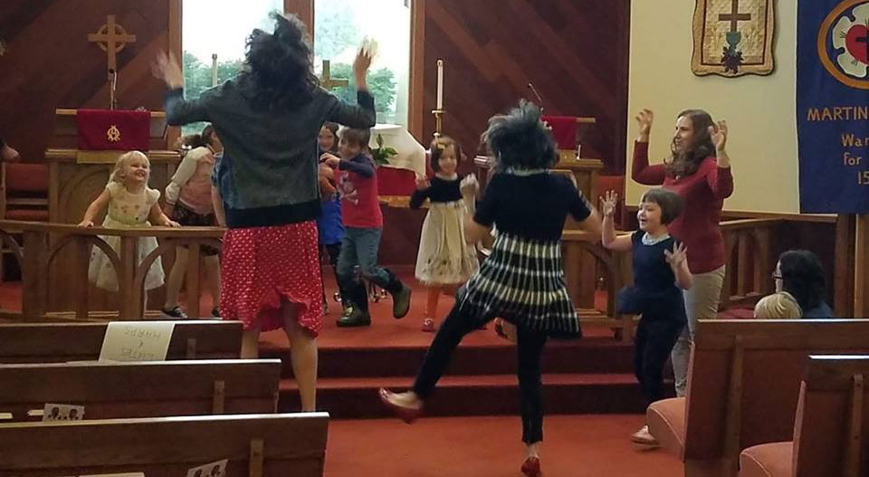 Kids dancing after Sunday service.